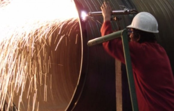 Worker working on a pipeline